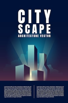 高層ビル建築建物レトロポスターと街のダウンタウンのスカイラインの風景。イラストベクトル