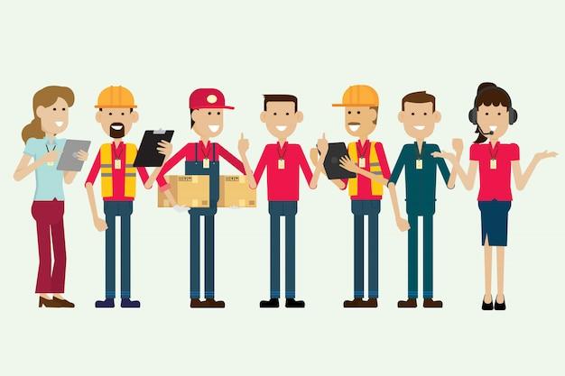 グループ倉庫作業員と従業員の文字。イラストベクトル