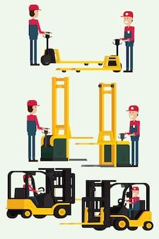 人間の労働者と手フォークリフターをけん引する労働者男とフォークリフト。イラストベクトル
