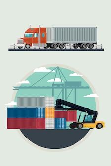 出荷ヤードで貨物コンテナーを持ち上げるフォークリフトで貨物物流トラックと輸送コンテナー。イラストベクトル