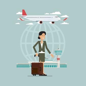 Вылет самолета путешествия небо и деловая женщина люди с чемоданами, векторная иллюстрация