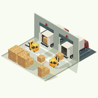 出荷ヤードで貨物コンテナーを持ち上げるフォークリフトで貨物物流トラックと輸送コンテナー。等角投影図のベクトル