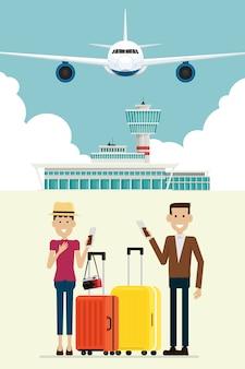空港到着時の飛行機と人々の男性と女性、スーツケース、ベクトルイラスト