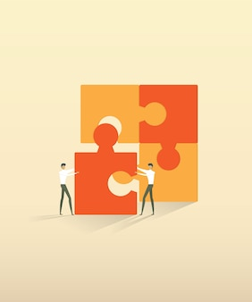 ビジネスチームワーク人パートナーシップパズル要素を接続します。