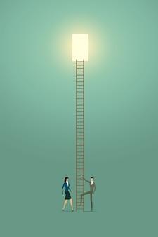 ビジネスマンは、はしごの成功に加えて、創造的なコンセプトソリューションの機会をビジョンします。