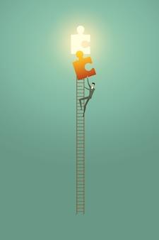 はしごの上に実業家ビジョンクリエイティブコンセプトソリューションの機会は、パズル要素の成功を登ります。