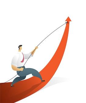 Деловые люди, тянущие стрелку, идут по пути к цели или цели