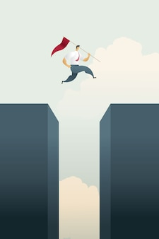 旗を持ったビジネスマンは、目標と挑戦の機会のギャップバーチャートを飛び越えます。
