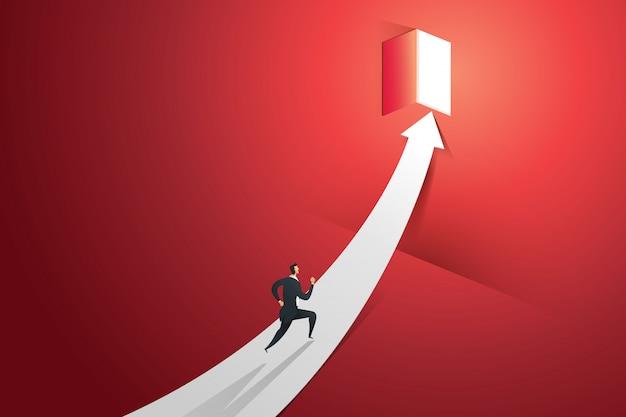 矢印で実行されているビジネスマンは、光の滝で赤い壁のドアに行きます。図