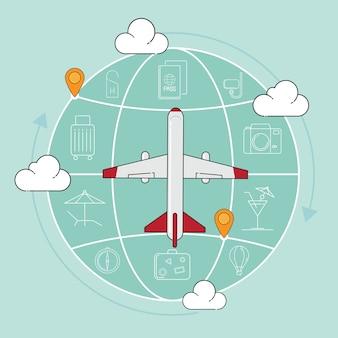 Путешествие самолет и значок векторные иллюстрации.