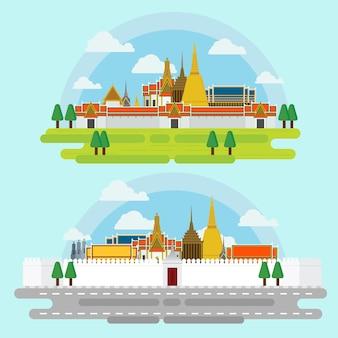 バンコクの周りを歩くランドマークアーキテクチャの設計のイラストのベクトル。