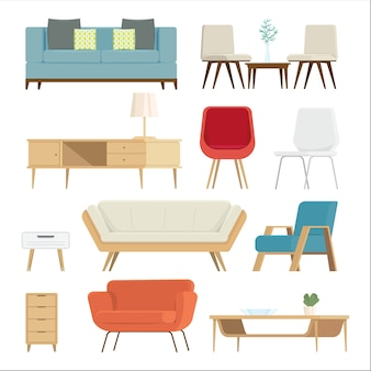家具のセットインテリアとホームアクセサリー。