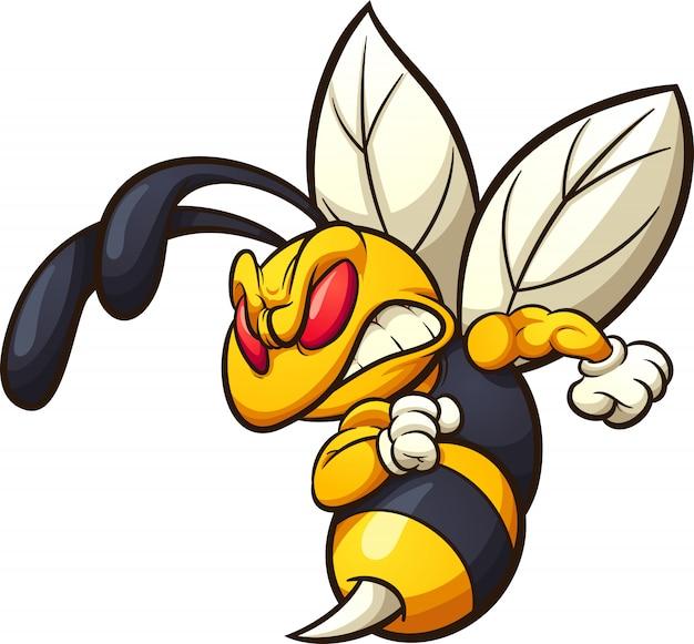 怒っているスズメバチ