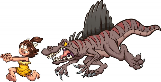 女性を追いかけてスピノサウルス