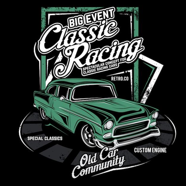 Классические гонки, векторная иллюстрация автомобилей