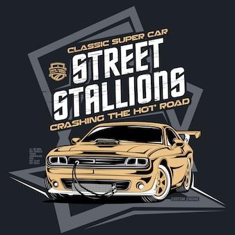 ストリートスタリオン、古典的なレースカーのイラスト