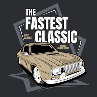 最速のクラシック、クラシックカーのイラスト
