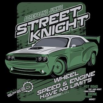 ストリートナイトカー、車のベクトルイラスト