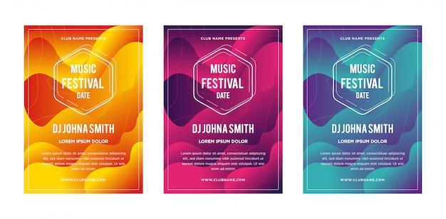 抽象的な液体流体音楽祭のポスター