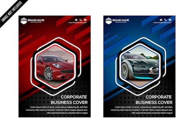 青赤と黒の六角形の抽象的なカバーデザインテンプレートベクトル。ビジネスチラシ