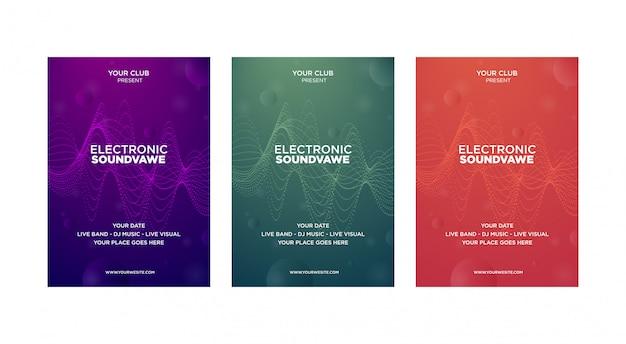 音楽カバーデザインテンプレートモダンな抽象のセットです。未来の波は点線で歪む