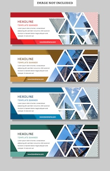 Абстрактный геометрический баннер шаблон. креативный современный дизайн с треугольной композицией