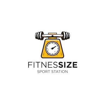 フィットネスと体重測定器のロゴのテンプレートのバーベル