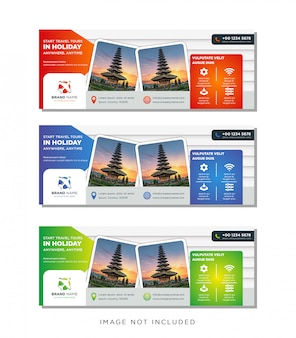 旅行ツアーバナーテンプレート、水平広告ビジネスバナーレイアウトテンプレートグラデーションセット。