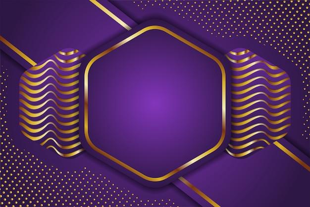 Абстрактная наука. золотой и фиолетовый шестиугольник геометрический. наука инновации абстрактный фон. волновой и точечный рисунок.