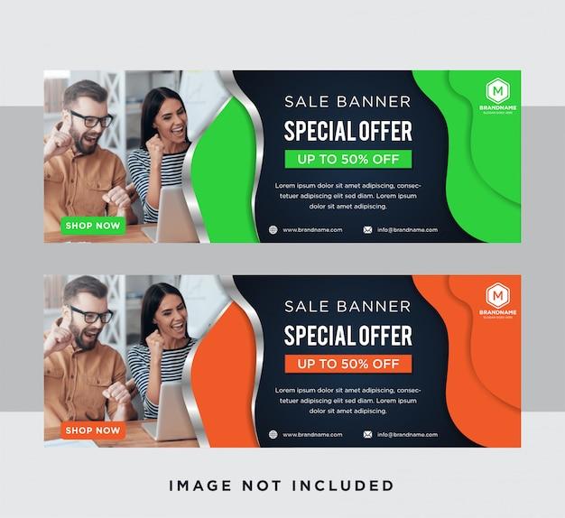 Набор синих горизонтальных веб-баннеров в сочетании с плоским зеленым, оранжевым и градиентным серым цветом