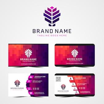 Современный абстрактный логотип и визитные карточки дизайн шаблона
