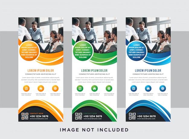 ビジネスコンセプトバナーデザイン縦型レイアウト。白い背景と緑、オレンジ、青の要素のデザイン。写真のためのスペース。