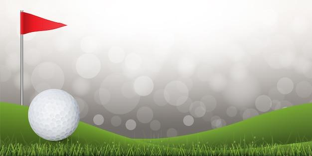 ボークーの背景と緑色のゴルフコートにゴルフボール