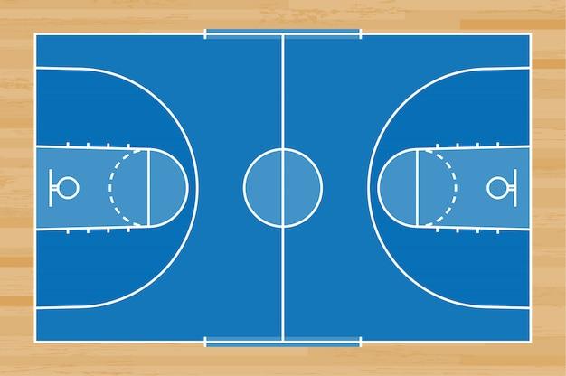 青いバスケットボールコートの背景。