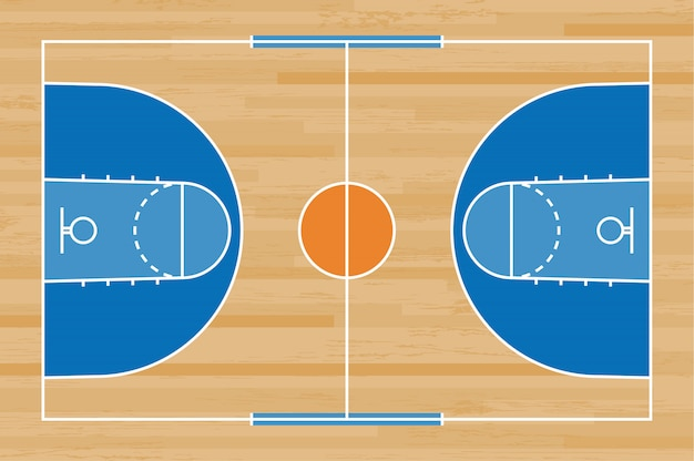 ウッドの背景の線のパターンを持つバスケットボールコートの床。