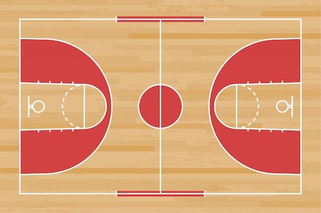 木目模様の背景に線でバスケットボール裁判所の床。