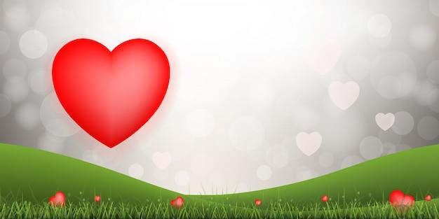 バレンタインデーとウェディングカードの抽象的な赤いハートの背景