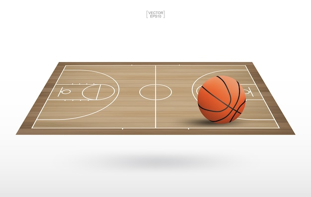 バスケットボールのコートにバスケットボールのボール。