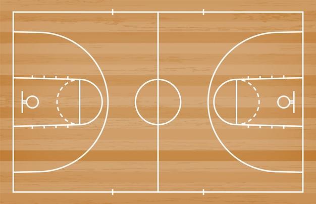 バスケットボールコートフロア、ウッドテクスチャ背景のライン