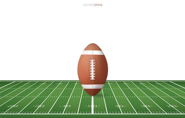 サッカー場でサッカーボール。