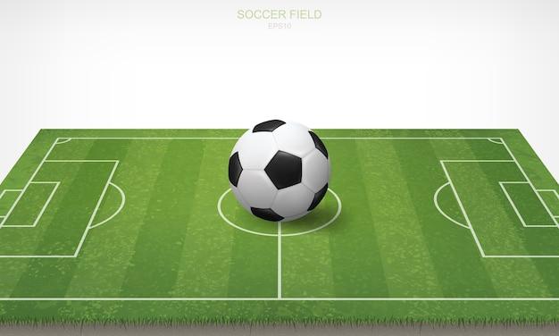 サッカーフィールドでサッカーのサッカーボール。