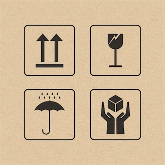 Хрупкий знак и символ на коричневой бумаге.