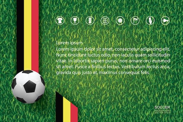 背景には緑色の草の上にサッカーボール。