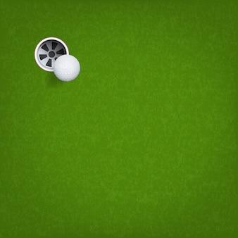 ゴルフボールとゴルフホール。
