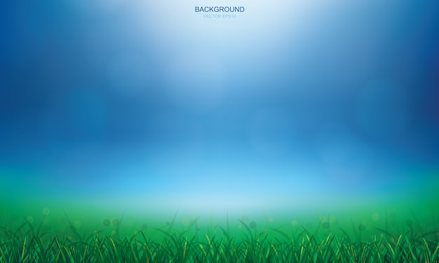 緑色の芝生のフィールドと光は、ボケの背景をぼやけました。