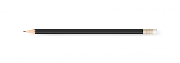 柔らかい影を持つ白い背景に黒い鉛筆。