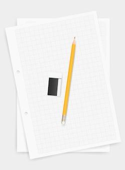 白い紙の背景に鉛筆と消しゴム。