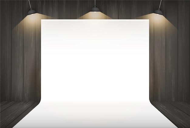 照明付きの写真スタジオの背景。