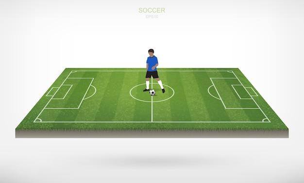 サッカー選手とサッカーサッカーボール、サッカー場の領域で、白い背景。