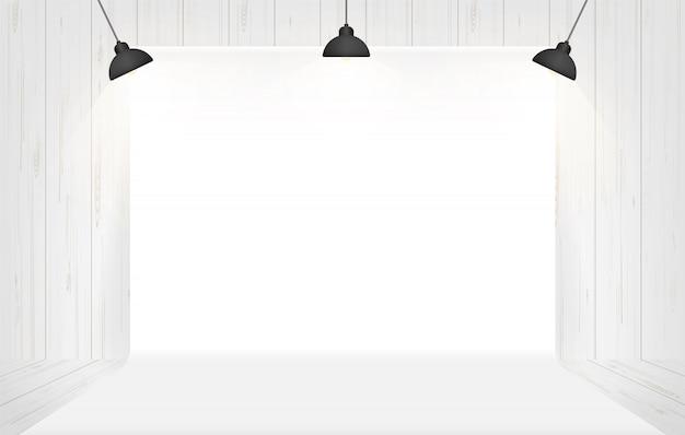 白い部屋の空間で照明と写真スタジオの背景..